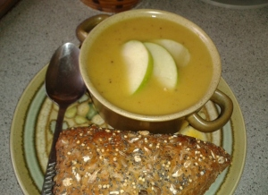 Curried Parsnip and Apple Soup - freshly served with a crusty seeded roll